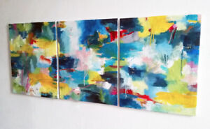 """ABSTRACT PAINTINGS - 20""""x48"""" - Vibrant and Beautiful - Local Art"""