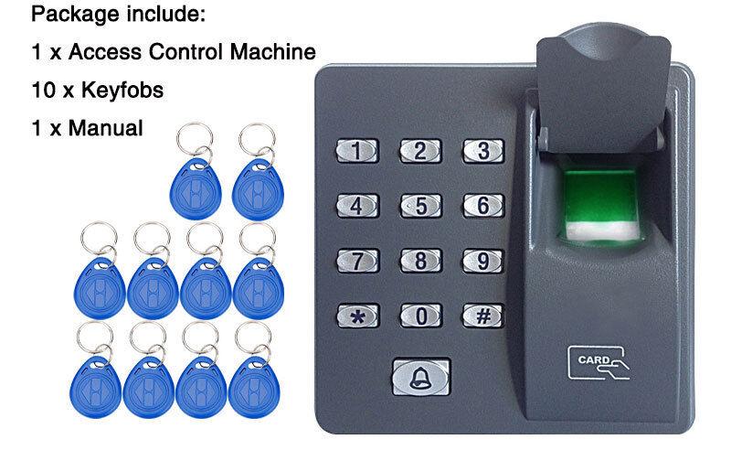 RFID reader fingerprint system access control system X6+10pcs keyfobs