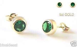 Classic 9ct Gold 5mm Small Emerald STUDS EARRINGS Anniversary B'day GIFT BOX NEW