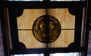 Large Framed Stained Glass LION