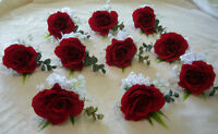 10 Red Rose Boutonnieres, Wedding Flowers.