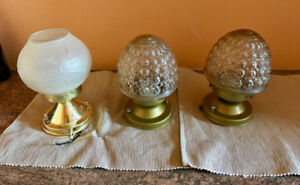 glass globe ceiling lights (working) w/mounting hardware