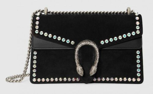 dionysus small crystal bag black suede new never worn fashion trend sold
