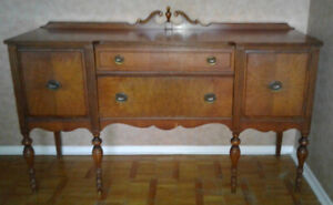 Impressive MAHOGANY Wood Buffet SIDEBOARD Antique