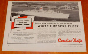 1955  CANADIAN PACIFIC EMPRESS OF BRITAIN OCEAN LINER SHIP AD