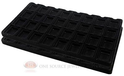 2 Black Insert Tray Liners W/ 32 Compartment Earrings Organizer Jewelry Display