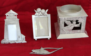 4x Seagull Pewter pieces - picture frame, candle holder ornament