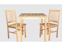 NEW CLEARANCE FACTORY ASSEMBLED HOME DINER NATURAL WOOD COLOUR TABLE + 2 SOLID TOP CHAIRS