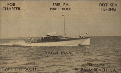 Erie PA & West Palm Beach FL Fishing Charter Boat Yacht Diane Postcard for sale  Shipping to Canada
