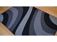 Silver Grey and Black Wave Rug
