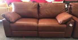 Brown leather recliner 3 seater sofa and Armchair