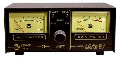 Zetagi 203 Twin SWR Watt Power Meter 3-200Mhz CB Ham Radio