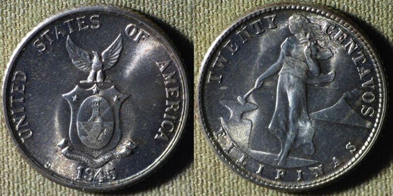 Philippines : 1945D 20 Ct Gem BU #182 IR5058