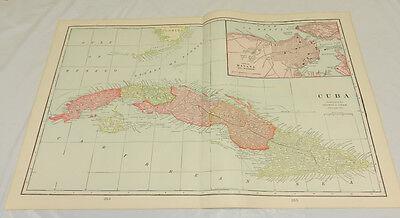 """1904 Antique Cram COLOR Map/CUBA and HAVANA/Large 14x22"""""""