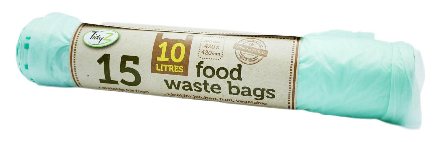 TidyZ - 15 Food Waste Bin Bags - Biodegradable & Compostable - 10 Litres