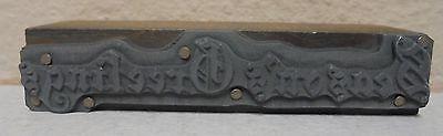 Vintage Seasons Greetings Metal Wood Letterpress Printing Block Type