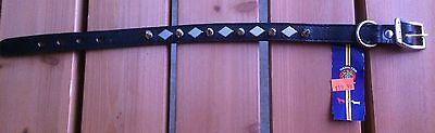 "Hamilton Products Dog Collar Leather Spiked Diamond Black 18"" x 3/4"" New"