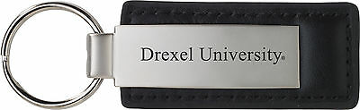 Drexel University   Leather And Metal Keychain   Black