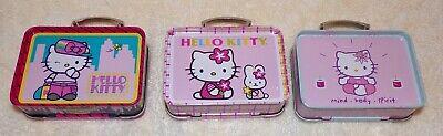 "3 HELLO KITTY MINI TIN SET lunch box shape 3.5"" x 2.5"" NIP"