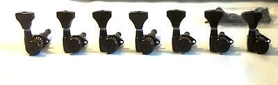 Hipshot® Black Locking Tuners~7 Inline-Non-Staggered~Open-Gear~10mm~Brand New