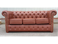 New 3 seater mottled brown leather Chesterfield sofa