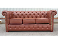 New 3 seater chesterfield brown leather sofa