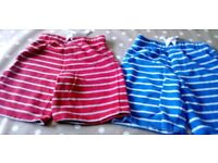 Two pairs of 5-6 year old jersey shorts from George at asda