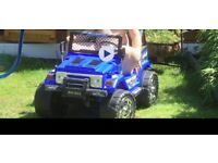 Child's 4x4 ride on jeep, remote controlled by parent or foot pedal for your little one
