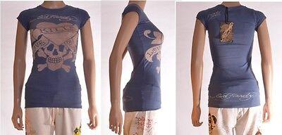 Ed Hardy Lady Short - Ed Hardy Ladies Blue Short Sleeved Tattoo Print Tshirt Top Size XS 4 6 8 10 (A4)