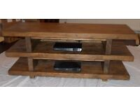 Handmade Rustic 3 Tier Widescreen TV Unit/stand in Thick Solid Wood