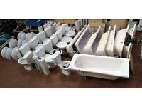 JOB LOT. WHITE BATHROOM SUITES COMPLETE. BATH. SINK, TOILET incl TAPS & WASTE