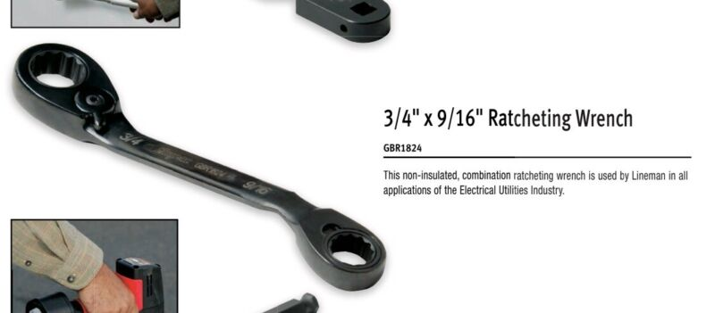 Snap-On Lineman Utility Ratcheting Wrench GBR1842 NEW