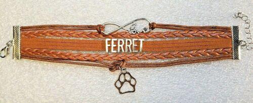 Ferret Love Infinity Paw Fiber Braids Faux Suede Tan Bracelet