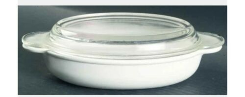 RETIRED 14 Oz Glass Casserette Lid White Coupe P-14-B CORNING Ware Free SH 2pc - $13.90