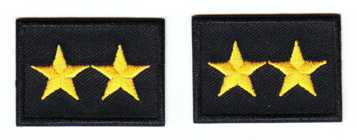 2 STARS GOLD on BLACK Police Chief/Deputy/Sheriff collar/lapel 2 patches 1.75