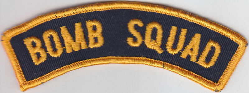 BOMB SQUAD police/sheriff Rocker/Tab patch Gold on Navy Blue CHEESECLOTH BACK