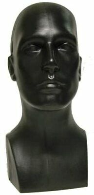 15 Tall Male Men Pe Plastic Mannequin Head Display Black 50013