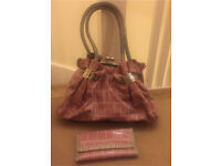 Pink and grey silver bag with matching wallet