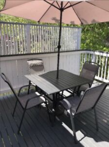 Patio Table, Chairs and Umbrella/Holder