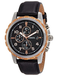 Fossil Men's Leather Strap Analog Dial Chronograph Watch Black