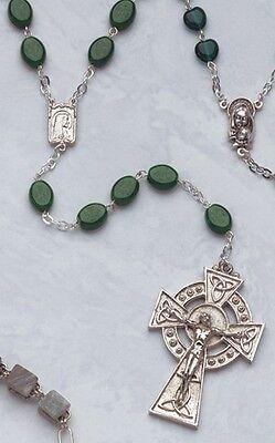 Celtic Crucifix Glass Shamrock Bead Rosary