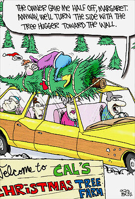 Tree Hugger 12 Funny Boxed Christmas Cards by Nobleworks