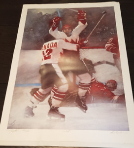 HOCKEY PRINT - THE GOAL - Paul Henderson 18x26inch Print