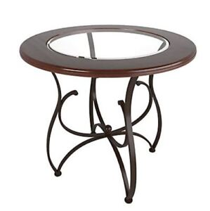 CORLIVING Round PUB Table (WOOD AND GLASS DINING Table)