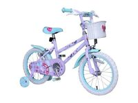 Brand new in box 16inch girls butterfly bike with stabilisers
