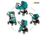 HAUCK LACROSSE FULL TRAVEL SYSTEM EVERGLADE PRAM PARENT FACING PUSHCHAIR CARSEAT CARRYCOT RAINCOVER