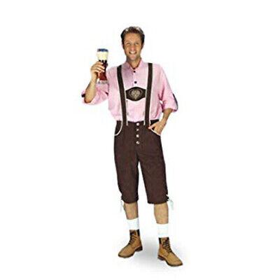 2 tlg Bayernhose Kniebundhose braun + rosa Karo Hemd Oktoberfest Kostüm - Rosa Hose Kostüm