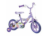Girls purple Tinkerbell fairies bike with stabilisers