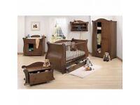 Walnut Tutti Bambini 5 Piece room set Sleigh Cot Bed Changing Unit Wardrobe