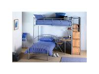 Metal Frame Bunk Bed + Storage + Desk. Includes Mattresses
